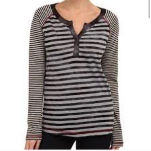 PrAna Longsleeved Zoe Henley Stripped Top Shirt M